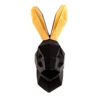 Vægdekoration Kanin hoved - Sort Guld