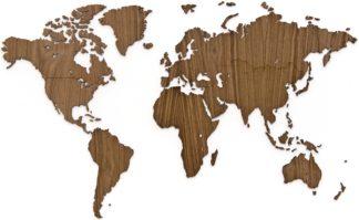 Verdenskort i Valnød træ - 130x78